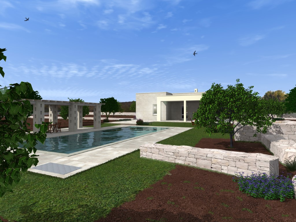 Project of a new villa in the countryside 7 km from Ostuni in the Cinera district with land of 7800 square meters.