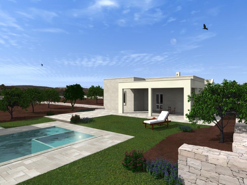 Progetto di Villa nuova in campagna a 7 km da Ostuni in contrada Cinera con terreno di 7800 mq .